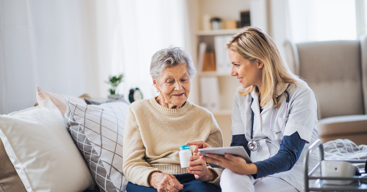 LPN speaking to home health patient